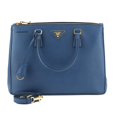 Prada Blue Borsa Saffiano Lux Double-Zip Tote (New with Tags)