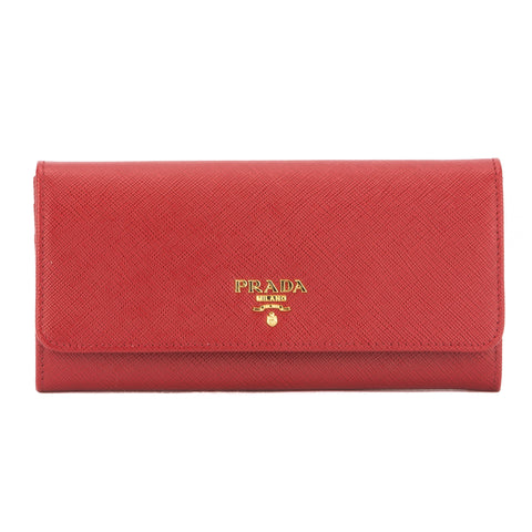 Prada Red Portafoglio Saffiano Metal Oro Wallet (New with Tags)