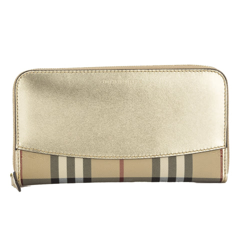 Burberry Gold Horseferry Check and Leather Ziparound Wallet  (New with Tags)