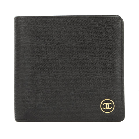Chanel Black Leather Coco Button Bifold Wallet (Pre Owned)