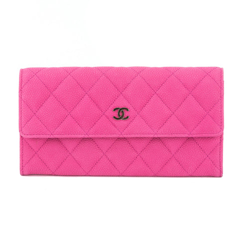 Chanel Pink Caviar Quilted Long Wallet (Authentic Pre Owned)