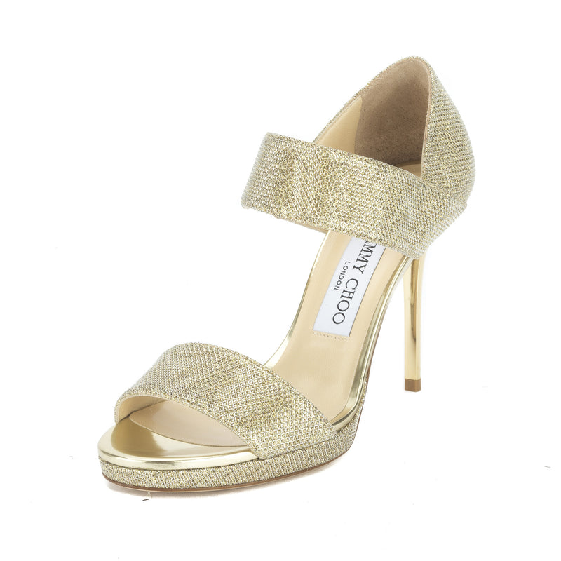 Jimmy Choo Glitter Gold Lamé Alana Sandal, Size 39 (New with Tags)
