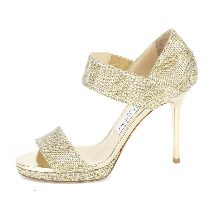 Jimmy Choo Glitter Gold Lamé Alana Sandal, Size 37 (New with Tags)