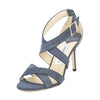 Jimmy Choo Denim Leather Louise Sandal, Size 37 (New with Tags)
