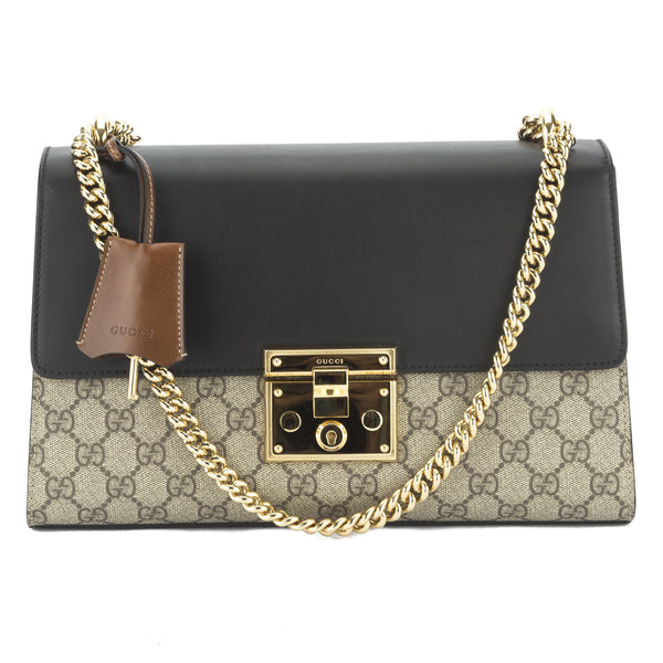 5e6a6a71 Gucci Black/Brown Padlock GG Supreme Shoulder Bag (New with Tags ...