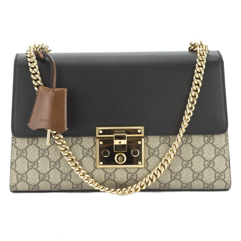 Gucci Black/Brown Padlock GG Supreme Shoulder Bag (New with Tags)