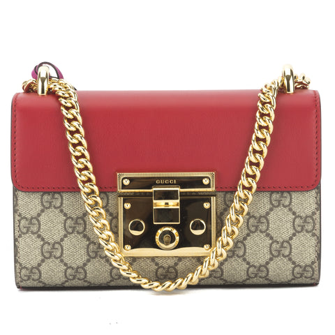 Gucci Hibiscus/Pink Padlock GG Supreme Shoulder Bag (New with Tags)