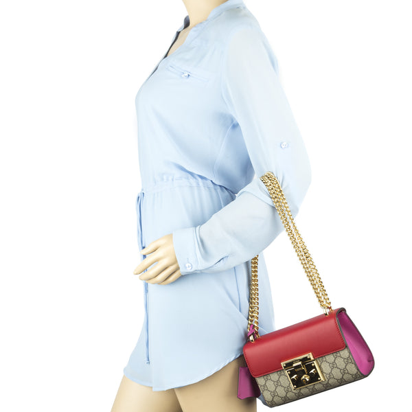 90182d6b5db5 ... Gucci Hibiscus/Pink Padlock GG Supreme Shoulder Bag (New with Tags)