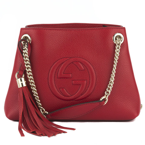 Gucci Red Small Soho Leather Shoulder Bag  (New with Tags)