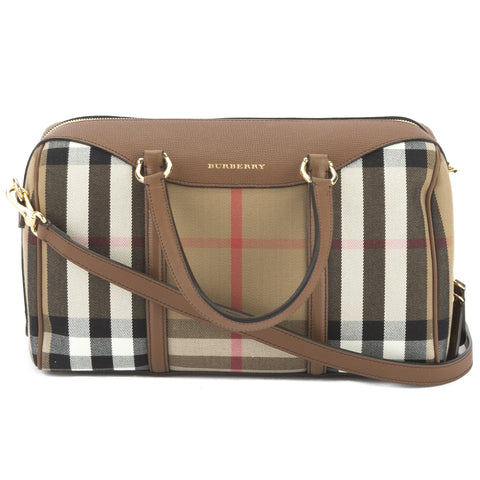 Burberry Tan Medium Alchester in Check and Leather (New with Tags)
