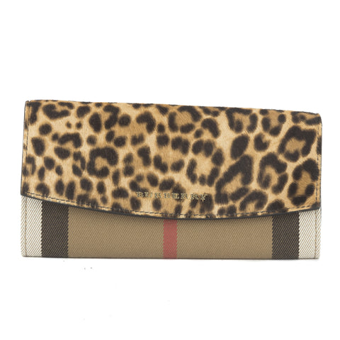 Burberry Cheetah Check and Leather Continental Wallet  (New with Tags)