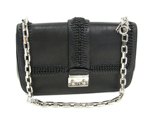 Christian Dior Black Miss Dior Woven Shoulder Bag  (SHA-11624)