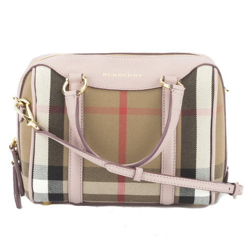 Burberry Nude Blush Leather and House Check Small Banner Bag  (New with Tags)