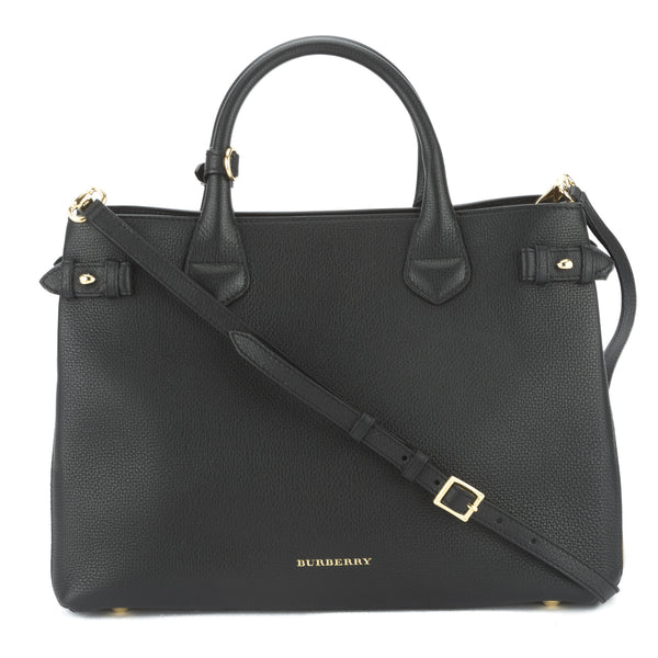 5ab3c083ed4 Burberry Black Leather and House Check Medium Banner Bag (New with ...