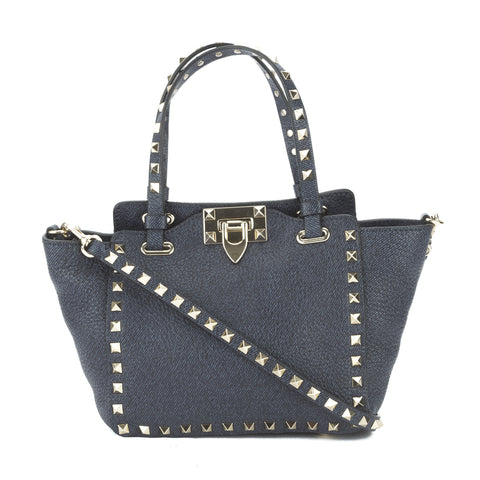Valentino Navy Blue Calfskin Rockstud Mini Tote (New with Tags)