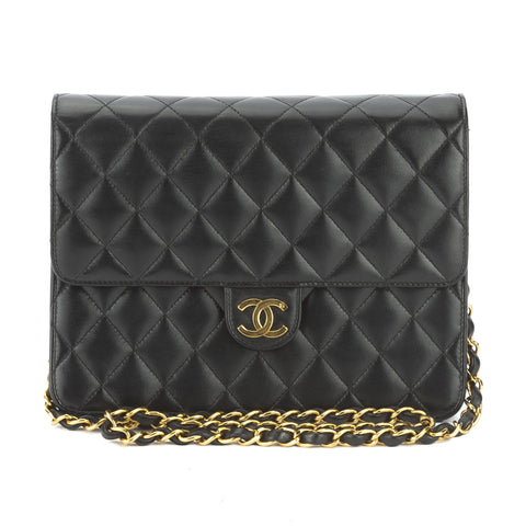 Chanel Black Quilted Lambskin Leather Classic Flap Shoulder Bag (Pre Owned)