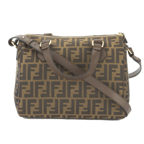 Fendi Tobacco Jacquard 'Zucca Boston' Logo Satchel (New with Tags)