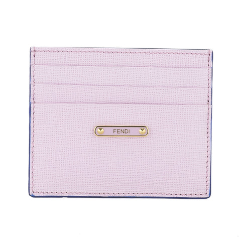 Fendi Rose Pink and Navy 'Crayons' Leather Card Case (New with Tags)