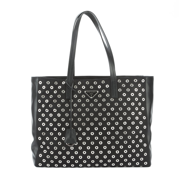 79674d9fe2fc Prada Black Nylon and Leather Tessuto Grommets Tote Bag New with Tags