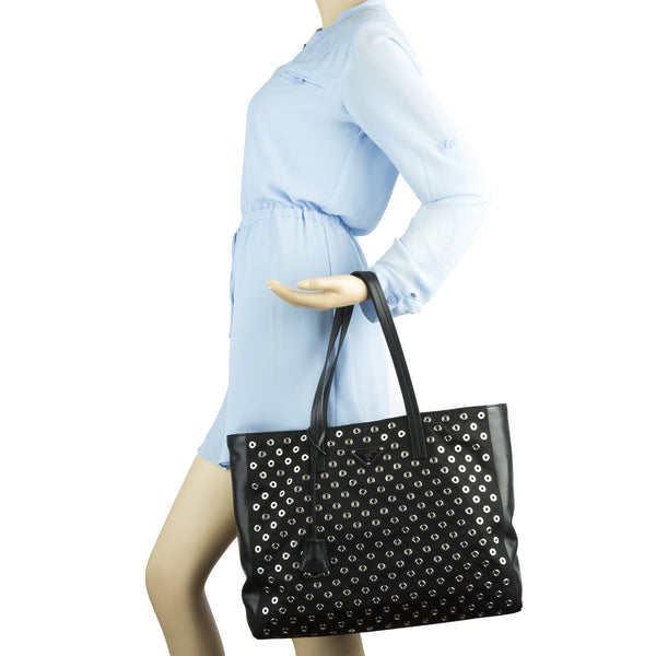 cf74192d3993 ... Prada Black Nylon and Leather Tessuto Grommets Tote Bag (New with Tags)