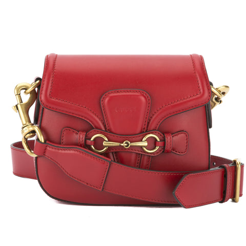 Gucci Hibiscus Red Leather Lady Web Shoulder Bag (New with Tags)