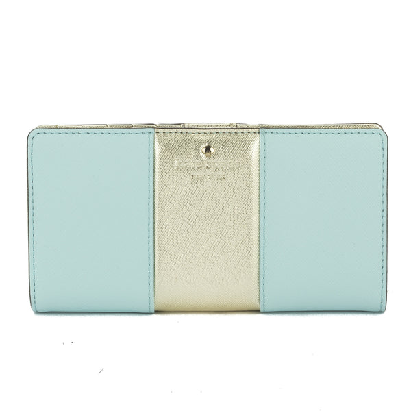 10b134c667ef Kate Spade Cy Blue and Gold Leather Cedar Street Metallic Racing Stripe Stacy  Wallet New with Tags