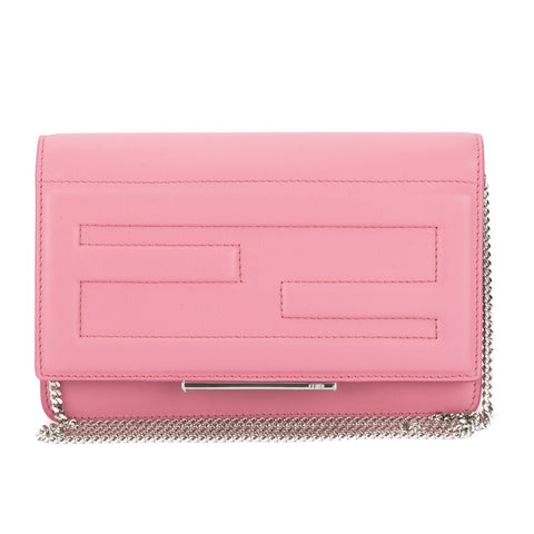 Fendi Pink Calfskin Leather Tube Wallet On Chain Bag (New with Tags)