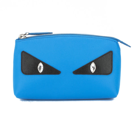 Fendi Blue Nylon Monster Eye Beauty Case (New with Tags)