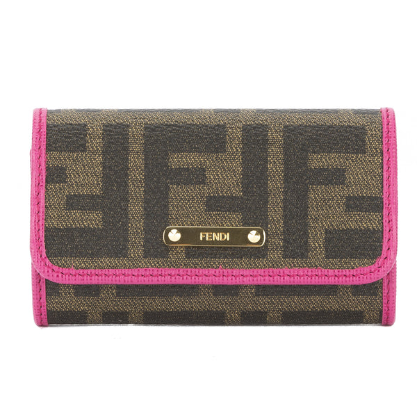 d1c03466 Fendi Brown Jacquard Zucca 6 Key Holder (New with Tags)