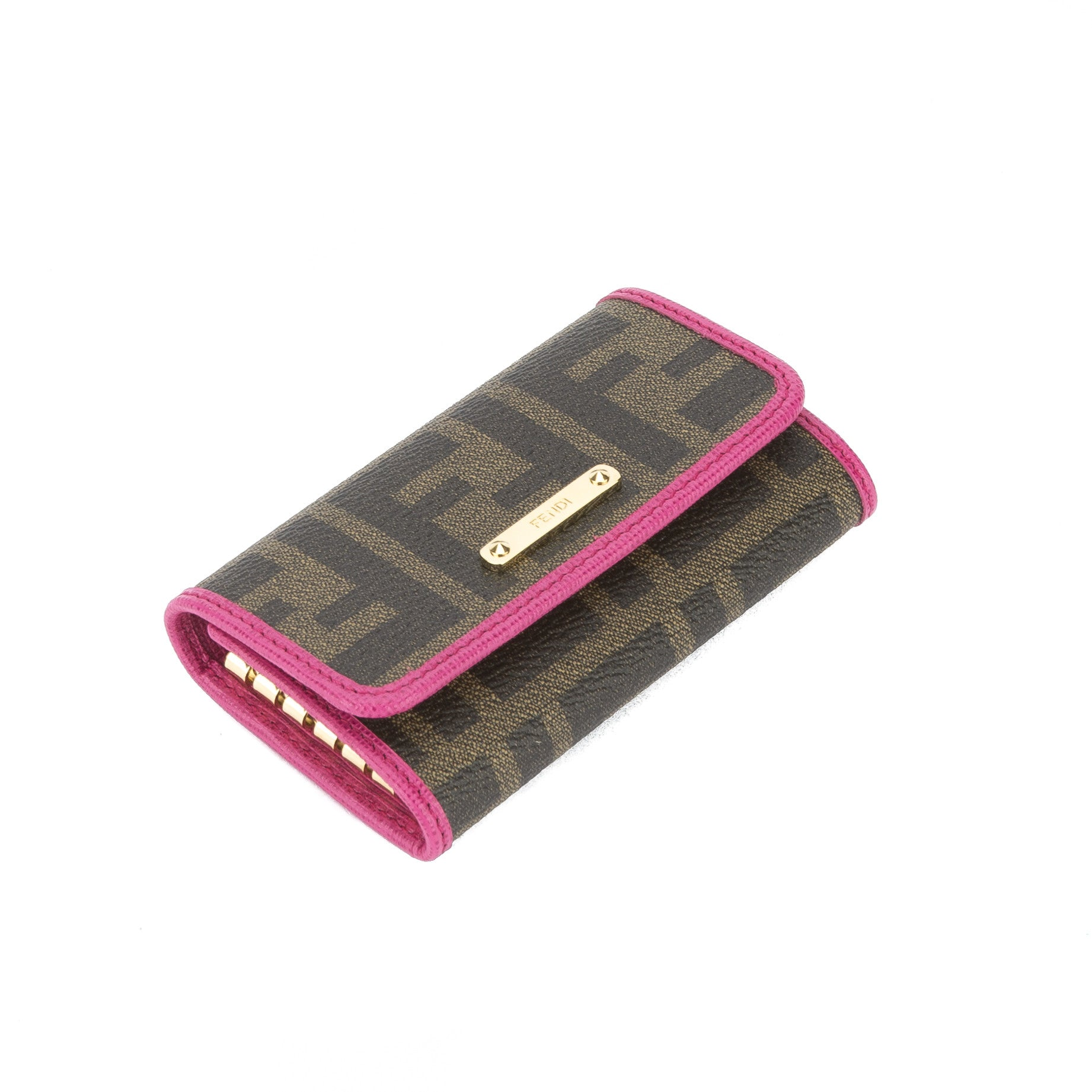 1a36385de22 Fendi Brown Jacquard Zucca 6 Key Holder (New with Tags) - 3037010 | LuxeDH