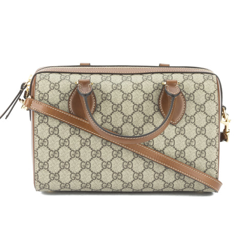 Gucci Caramel Leather GG Supreme Small Top Handle Bag (New with Tags)