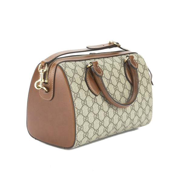 848ad80b15a534 ... Gucci Caramel Leather GG Supreme Small Top Handle Bag (New with Tags)  ...