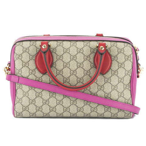 Gucci Hibiscus and Pink Leather GG Supreme Small Top Handle Bag (New with Tags)