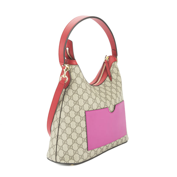 Gucci Hibiscus And Pink Leather Gg Supreme Large Hobo Bag New With Tags