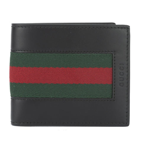 Gucci Black Leather Web Wallet (New with Tags)