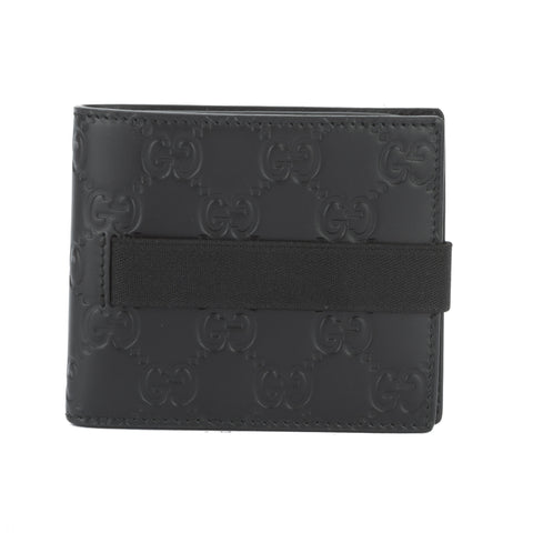 Gucci Black Leather Elastic Gucci Signature Wallet (New with Tags)