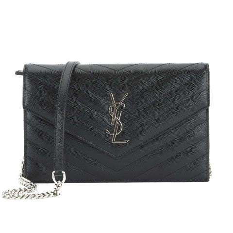 Saint Laurent Black Grain De Poudre Textured Matelasse Monogram Envelope Chain Wallet Chain Wallet (New with Tags)