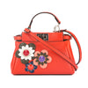 Fendi Red Leather Floral Micro Peekaboo Bag  (New with Tags)