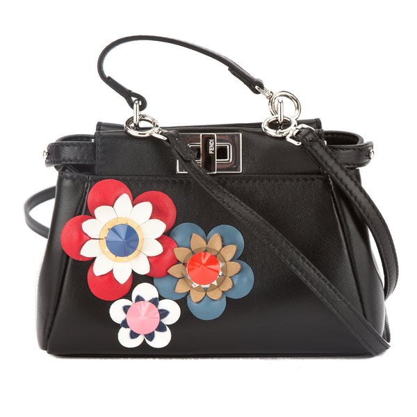 Fendi Black Leather Floral Micro Peekaboo Bag (New with Tags ... 7761f7bbdfbcb