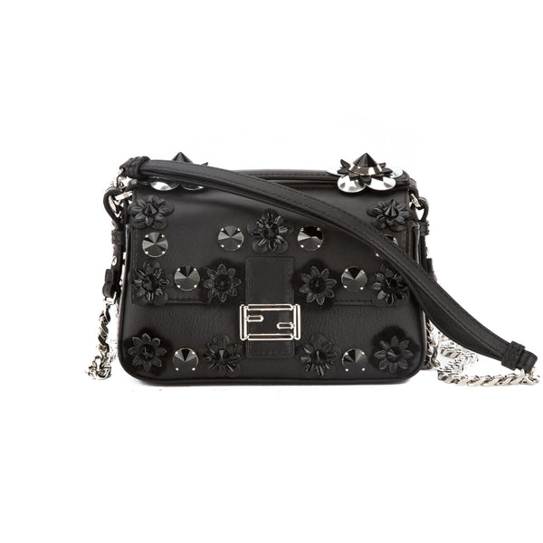 a2d587aa990a Fendi Black Leather Double Micro Baguette Bag (New with Tags ...