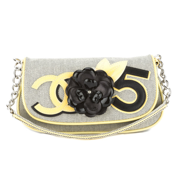 6547aab5121a Chanel Yellow/Gray Canvas No.5 Camellia Pochette (Pre Owned ...
