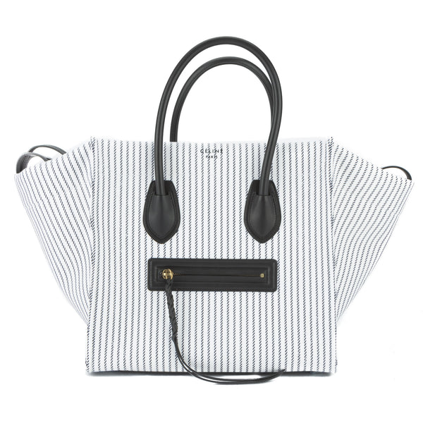 6a77b536c63e Celine White and Navy Textile Medium Phantom Luggage Tote Bag New with Tags