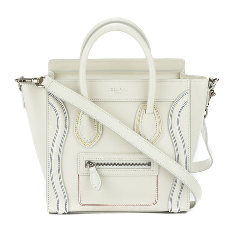 Celine White Calfskin Multicolour Double Stitch Micro Luggage Handbag (New with Tags)