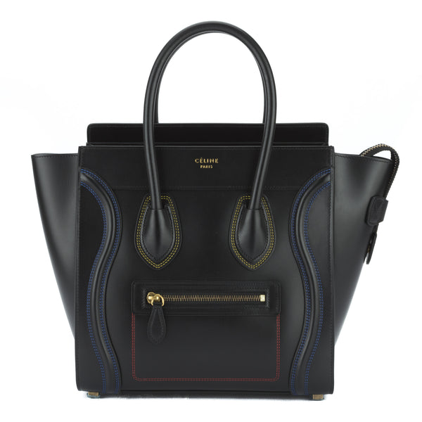 80bee7a16690 Celine Black Calfskin Multicolour Double Stitch Micro Luggage Handbag New  with Tags