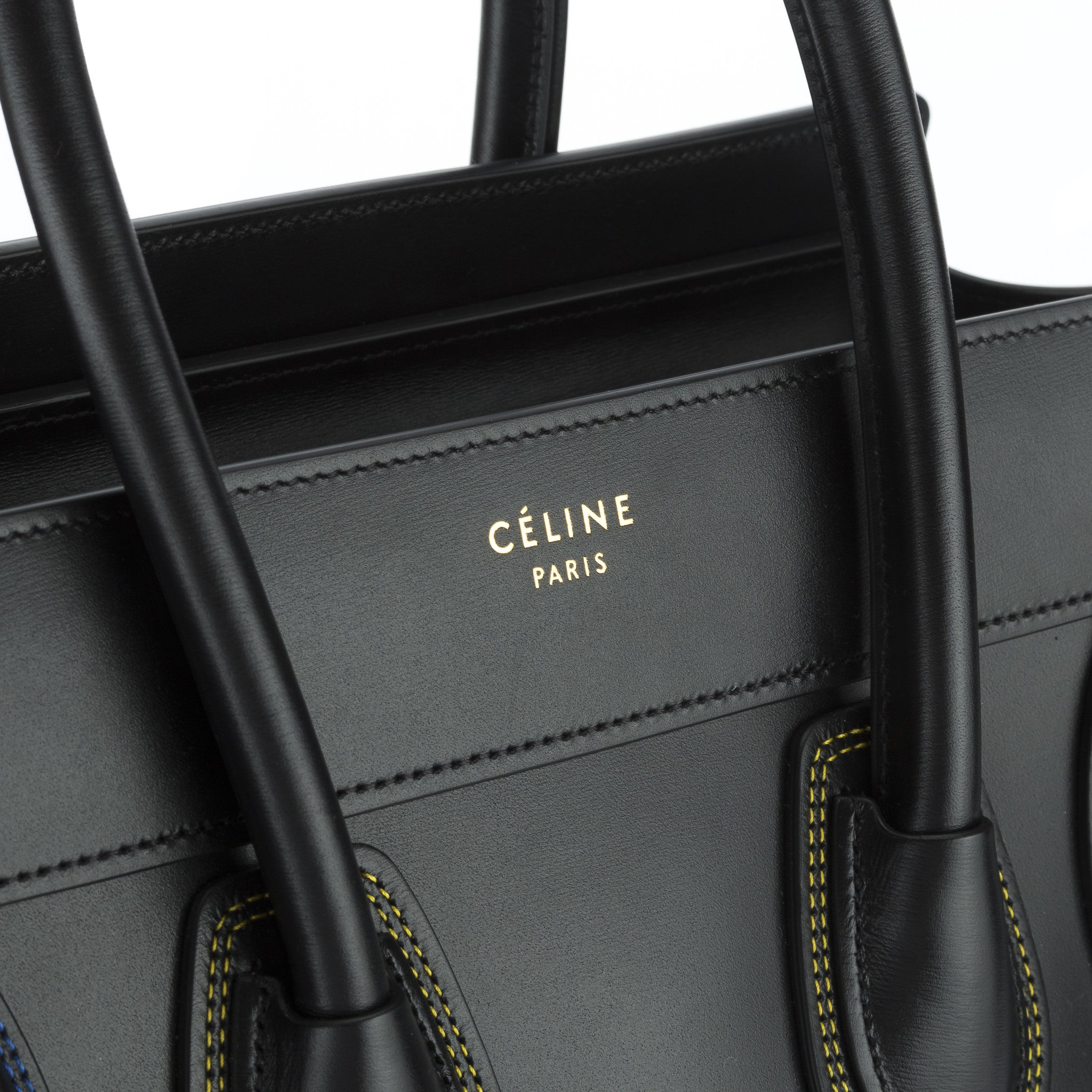 a61503264ae5 ... Celine Black Calfskin Multicolour Double Stitch Micro Luggage Handbag  (New with Tags). +  +  +  +  +  +  +  +  +  +. PrevNext