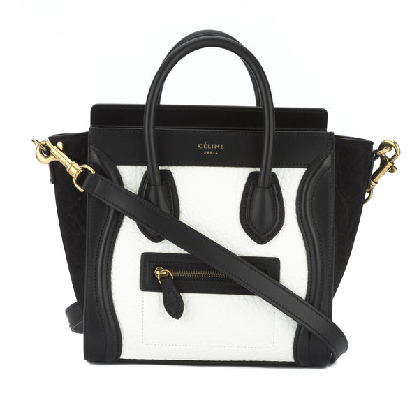 c93727d393ff Celine Black and White Bullhide Nano Luggage Handbag (New with Tags ...