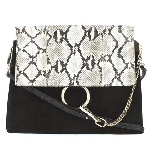 Chloe Black Suede Faye Python Flap Shoulder Bag (New with Tags)