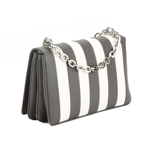 c62fb01ef075 Prada Marble Gray Saffiano Stripe Motif Shoulder Bag (New with Tags ...