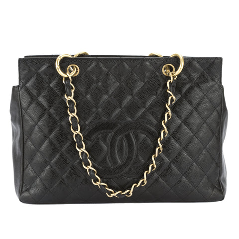Chanel Black Quilted Caviar Medium Chain Tote Bag (Pre Owned)