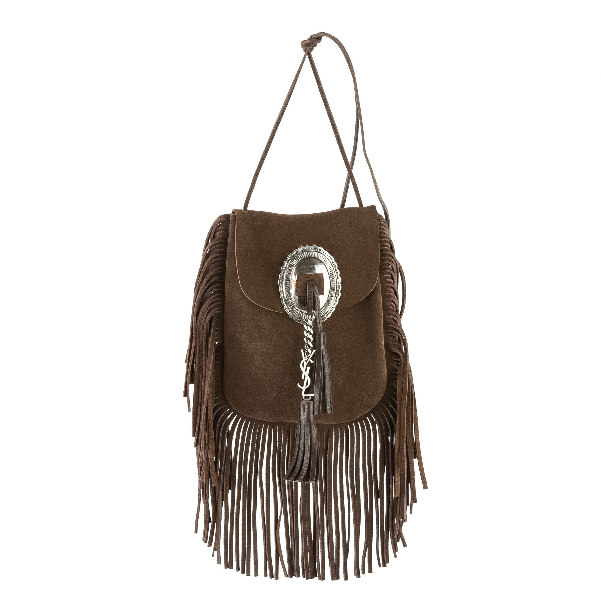 e286577199 Yves Saint Laurent Saint Laurent Brown Suede Anita Flat Fringed Crossbody  Bag New with Tags